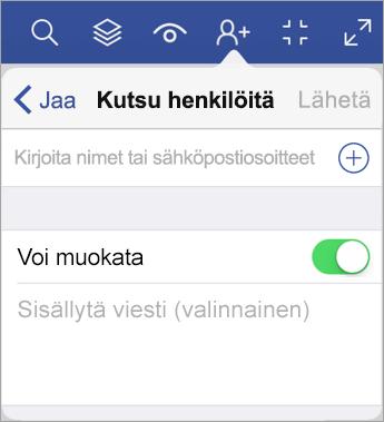 Kutsu muita käyttäjiä tarkastelemaan kaaviotasi Visio Viewer for iPadissa kirjoittamalla käyttäjien nimet tai sähköpostiosoitteet.
