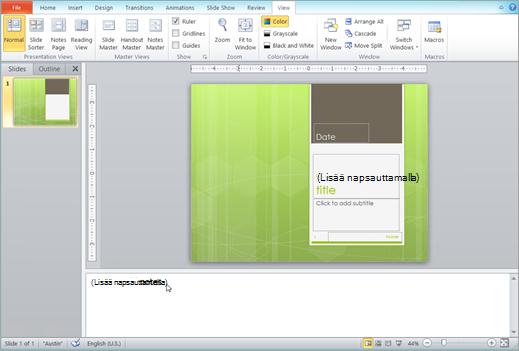 PowerPointin muistiinpanot-ruutu tehtäväpalkista alla
