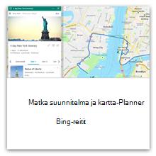 Matkaohjelman ja -reitin suunnittelu Bingin avulla
