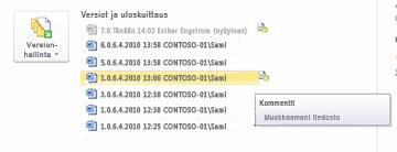 Microsoft Word-tiedoston versio historian Backstage-näkymä. Versio 4 on valittuna.