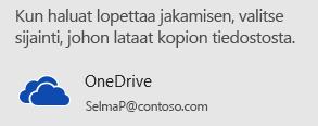 Jos et ole tallentanut esitystäsi OneDriveen tai SharePointiin, PowerPoint kehottaa sinua tekemään sen.