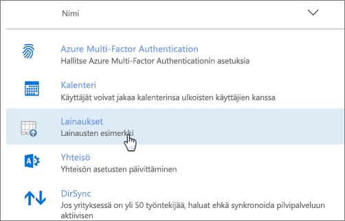 Office 365-hallintakeskuksen käyttöön otettu apuohjelma