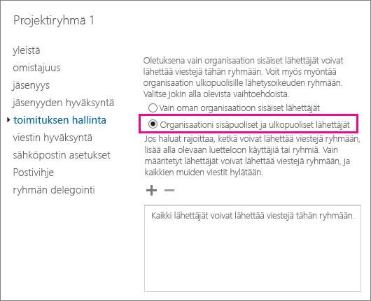 Exchangen hallintakeskuksen käyttäminen DSN 5.7.133-virheen ratkaisemiseen ja lähettäjien sallimiseen