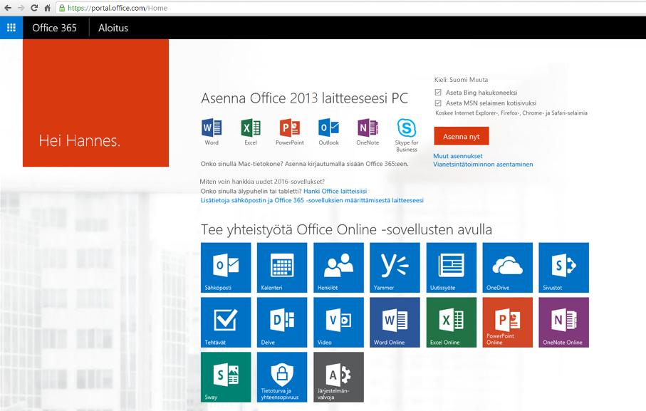 Näyttökuva Office 365:n asentamisesta tietokoneeseen.