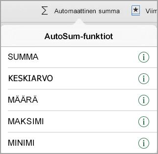 Automaattinen summa-Funktiot-valikko