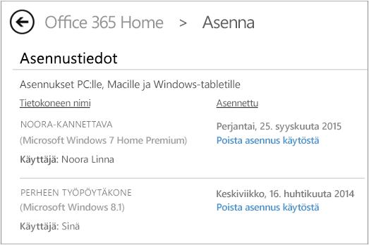 Asennussivu, jossa näkyy tietokoneen nimi ja Officen asentaneen henkilön nimi.