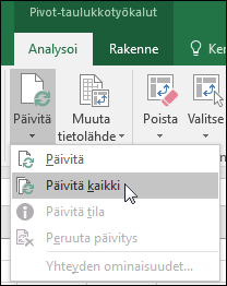 Päivitä kaikki Pivot-taulukot valitsemalla valintanauhasta > Pivot-taulukkotyökalut > Analysoi > Tiedot, napsauttamalla nuolta Päivitä-painikkeen alla ja valitsemalla sitten Päivitä kaikki.