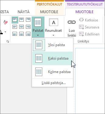 Publisherin Tekstiruututyökalut - Palstat