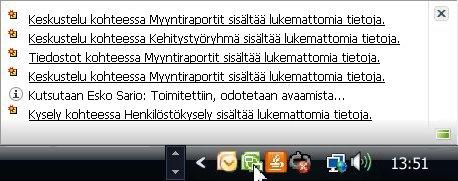 Useita ilmoituksia Windowsin ilmaisinalueessa