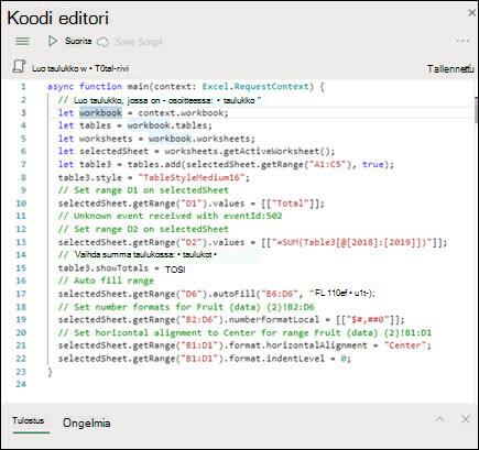 Kun valitset komentosarjan komentosarjaluettelosta, se näkyy uudessa ruudussa, jossa näkyy myös TypeScript-koodi.