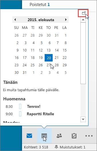 Kalenterin pikanäkymä, jossa näkyy Kiinnitys-kuvake korostettuna