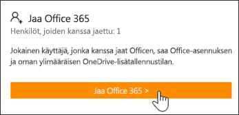 Oma tili -sivun Jaa Office 365 -osa ennen tilauksen jakamista.