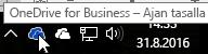 Näyttökuva kohdistimesta sinisen OneDrive-kuvakkeen päällä ja tekstistä OneDrive for Business.