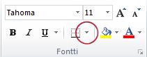 Fontti-ryhmän Reunat-painike