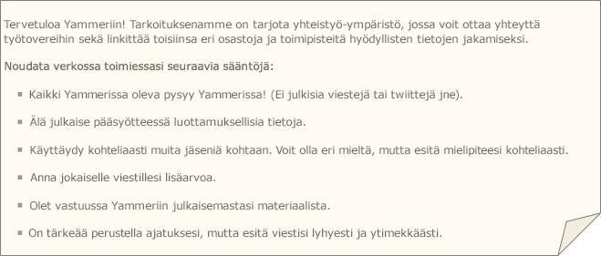 Esimerkki Yammer-käytännöstä