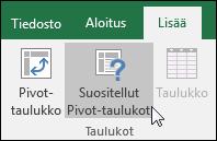 Jos haluat, että Excel luo Pivot-taulukon sinulle, valitse Lisää > Suositellut Pivot-taulukot.