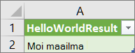 HelloWorldin tulokset laskentataulukossa