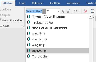Uusi fontti näkyy nyt Wordin fonttiluettelossa.