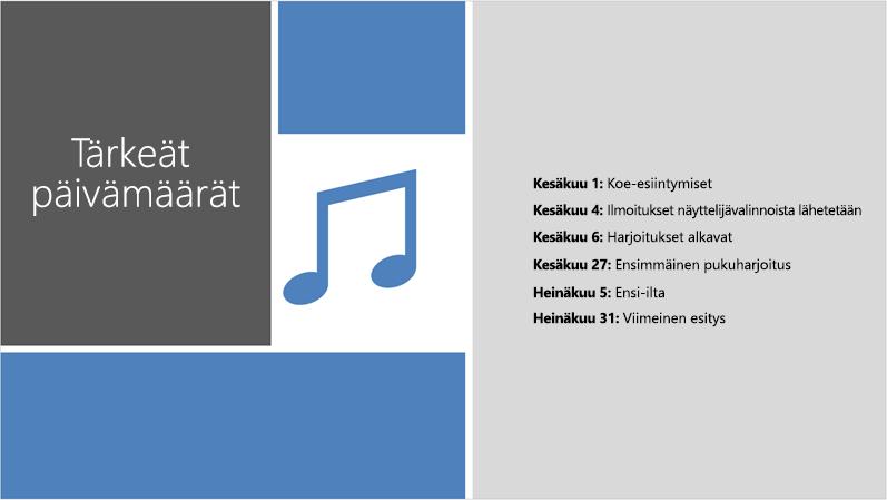 Esimerkkidiasta, jossa on tekstiaikajana, PowerPoint suunnittelutyökalu on lisännyt kuvia ja ulkoasuja.