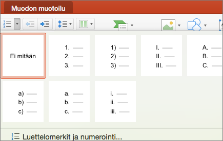Näyttökuva numerointityyleistä, jotka ovat käytettävissä, kun valitset Numerointi-painikkeen nuolen