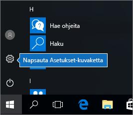 Napsauta Käynnistä-valikossa Windowsin asetukset -kuvaketta.