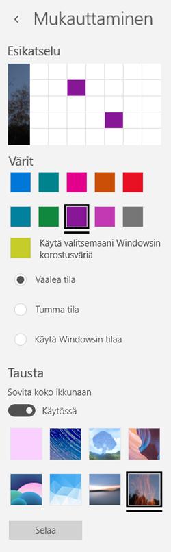 Valitse taustakuva ja mukautettujen värien sovelluksia