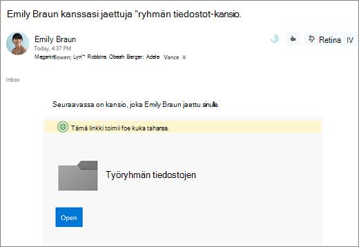 Kanssa jaettavan OneDrive-kansioon linkin lähettäminen sähköpostitse