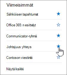 Valitse tähti sivuston vasemmassa siirtymispalkissa.