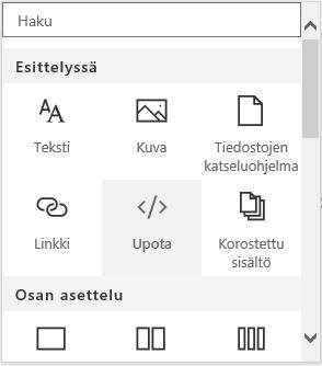 Näyttökuva Upota sisältö -valikosta SharePointissa.