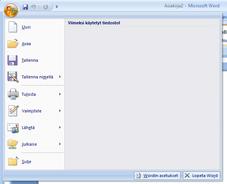 Microsoft Office -painike, kun valikko on auki