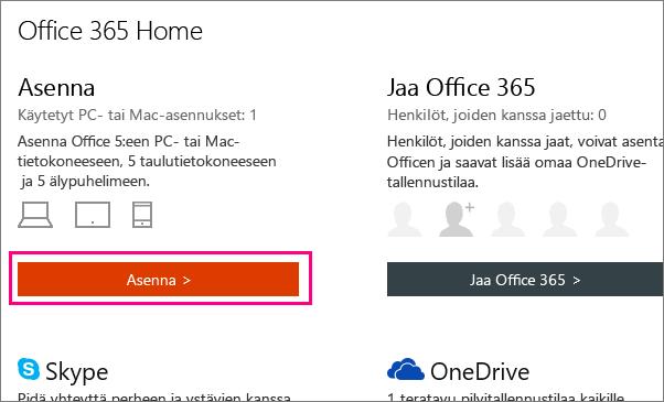 Näyttää asennuspainikkeen Office 365 Homen Oma tili -sivu