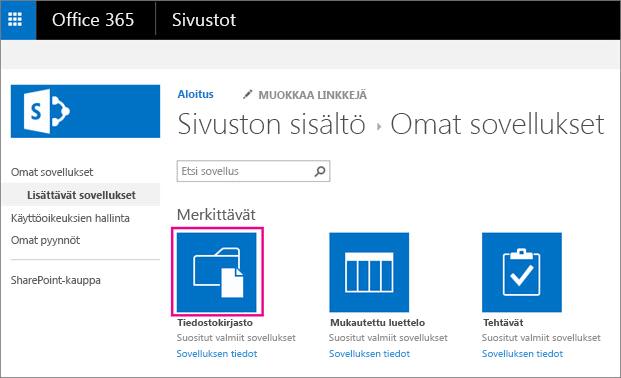 Voit lisätä uuden tiedostojen tallennustilan säiliön valitsemalla Omat sovellukset -sivulla Tiedostot-ruudun.