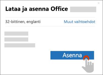 Näyttää Asennuspainikkeen Lataa Office -valintaikkunassa
