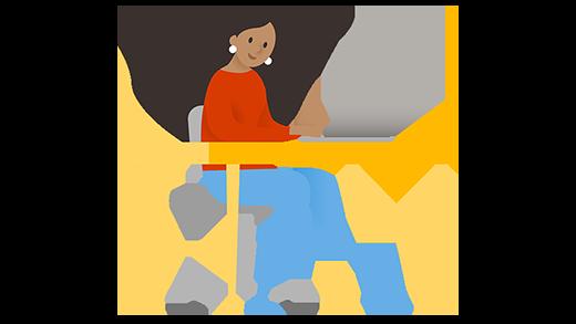 Nainen työskentelemässä tietokoneella