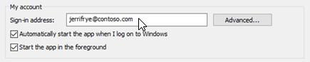 Oman tilin asetusten Skype for Business Omat asetukset-ikkunassa.