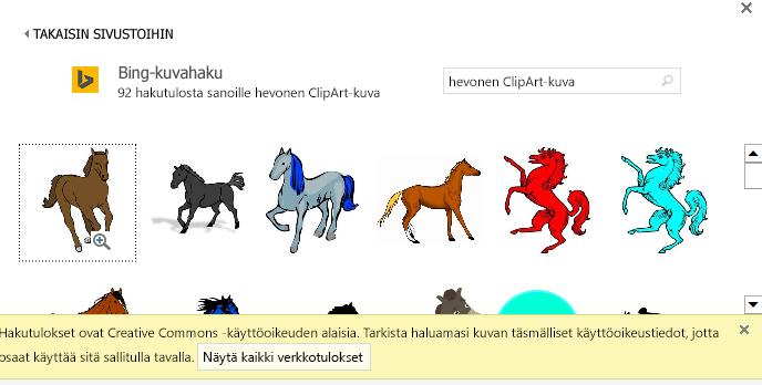 Kun haet hevoskuvia, näet useita kuvia Creative Commons -käyttöoikeuden kohdassa.