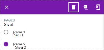 Sivun poistaminen pitkässä pikavalikossa OneNote for Androidissa