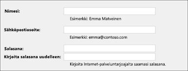 Anna sähköpostiosoitteesi ja salasanasi