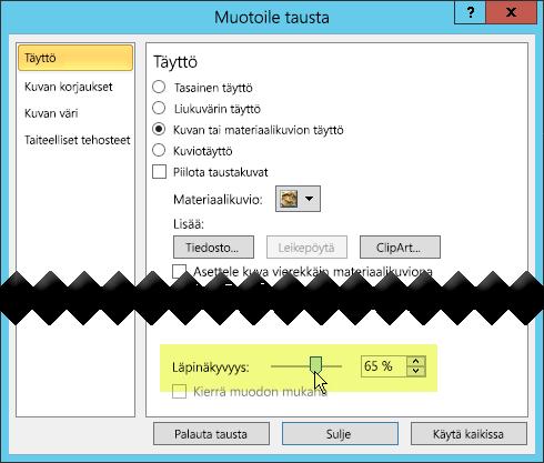 Muotoile tausta -valintaikkunassa on läpinäkyvyyden liukusäädin kuvan säätämistä varten