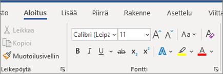 Tekstin lisääminen ja muotoilu Wordissä
