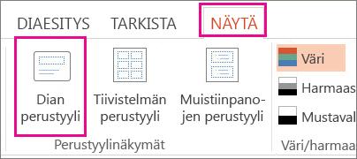 Valitse Näytä-välilehdessä Dian perustyyli