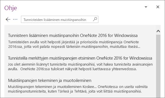 Näyttökuva OneNote-ohjeruudusta, jossa on näkyvissä tunnisteiden muistiinpanojen hakutulokset.