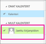 Outlook Web App, jossa jaetun postilaatikon kalenteri valittuna