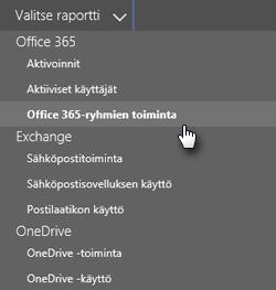 Näyttökuva: valitse raportti – Office 365 -ryhmät