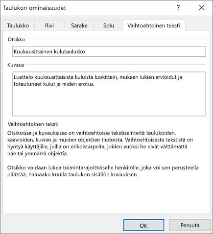 Näyttökuva Taulukon ominaisuudet -valintaruudun vaihtoehtoisen tekstin välilehdestä, joka kuvaa valittua taulukkoa