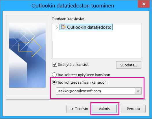 Tuo Outlookin .pst-tiedosto Office 365 -postilaatikkoon valitsemalla Valmis.