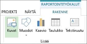 Raportointityökalujen Rakenne-välilehti