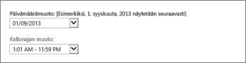 Outlook Web Appin päivämäärän ja kellonajan muotoiluasetukset