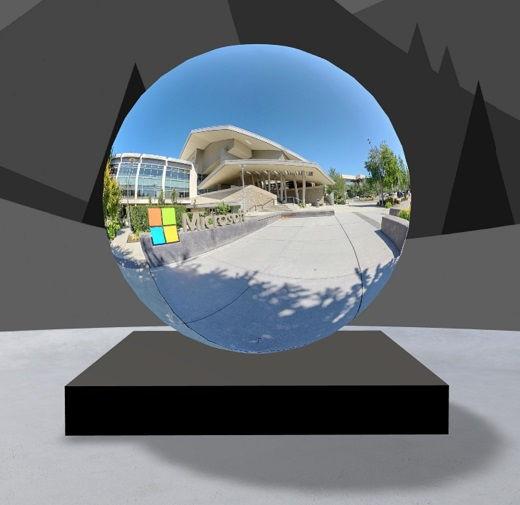 360 asteen esittelyn verkko-osa, jossa on kuva Microsoftin vierailijakeskuksesta
