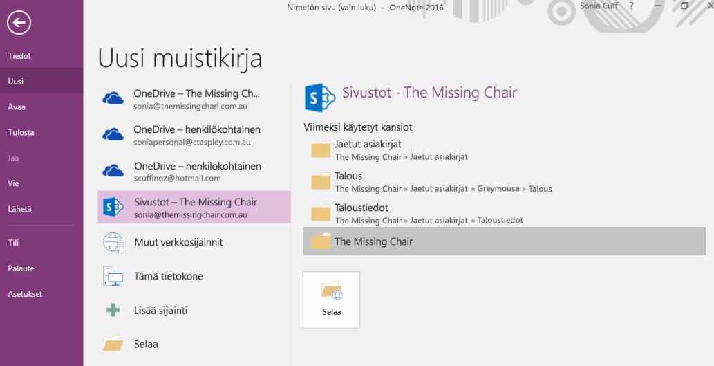 OneNote for Windows 2016:n Uuden muistikirjan kansion valinta -käyttöliittymä